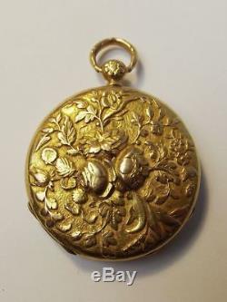 Ornate Antique c1820 LeRoy & Fills Gold Open Face Pocket Watch