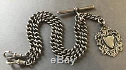 Outstanding HEAVY Solid Silver Double Albert Pocket Watch Chain Chester 1924