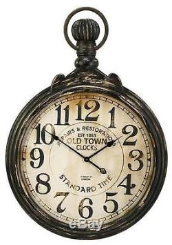 Oversized Distressed Antique-Style Pocket Watch Wood Wall Clock Patina Color 39
