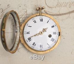 PAINTED ENAMEL & GOLD Verge Fusee Antique Pocket Watch JULIEN LE ROY Montre Coq