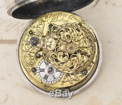 PAIR CASED OTTOMAN TURKISH Verge Fusee Antique Pocket Watch with CHAMPLEVE DIAL