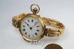 PRETTY ANTIQUE ENGLISH 9K ENAMEL GOLD POCKET WATCH / LADIES WRISTWATCH c1910