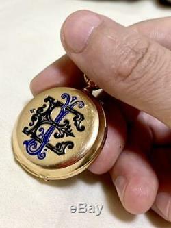 Pocket Watch 18k Gold Antique Horlogerie De Geneve Deep Blue Enamel Mens F/s