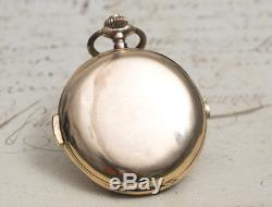 QUARTER REPEATER & CHRONOGRAPH SOLID 14k GOLD Antique Pocket Watch