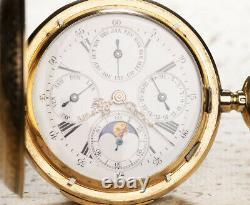 QUARTER REPEATER & TRIPLE CALENDAR Gold Antique Pocket Watch