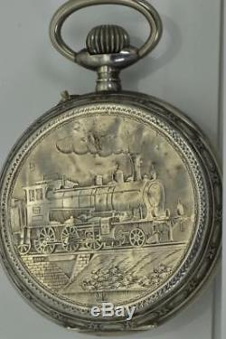 RARE Antique Railroad official's silver oversize pocket watch. Fancy dial. 1880's