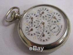 RARE montre à 6 fuseaux horaires Antique multi time zones pocket watch Uhr Reloj
