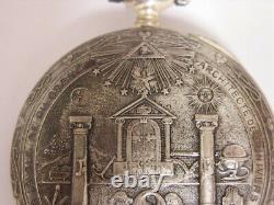 RARE montre de poche Franc-Maçonnique Antique freemason pocket watch ORIGINAL