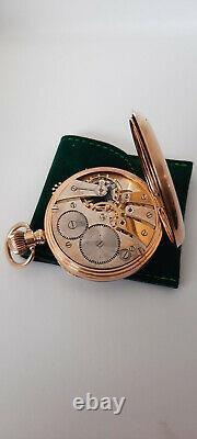 ROLEX Gold 9K Antique Open Face Pocket Watch with Original Travel Pouch Case