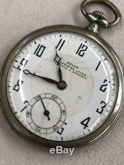 ROLEX PRECISION LEVER hand-winding white silver pocket watch antique vintage