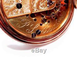 Rare Antique 18s Civil War Era P. S Bartlet 14K Gold Pocket Watch Serviced Hunter