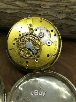Rare Antique Chaupard Verge Fusee Alarm Pocket Watch Silver Hand winding Running