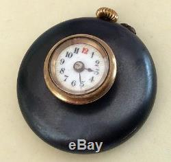 Rare Antique Gun Metal & Gold Capped Button Hole Watch (Working & Great Order)