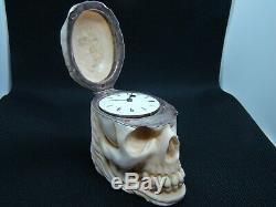 Rare Antique Memento Mori Skull Verge Fusee Doctors pocket watch 1820-1890