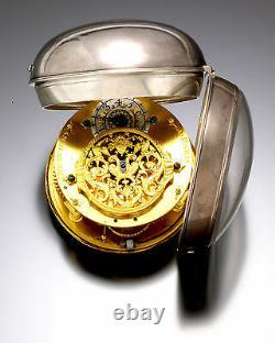 Rare Antique Oignon Decovigny Verge Keywind Pocket Watch C1710s Silver Case