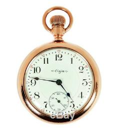 Rare Antique Railroad 21J 18s Elgin Grade 349 Gold Pocket Watch Mint