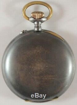 Rare Antique Swiss Digital Jump Hour Porcelain Dial Pocket Watch