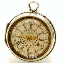 Rare Antique Verge Fusee Pair Case Pocket Watch By Markwick Ca1690s