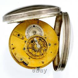 Rare Antique Verge Fusee Pocket Watch Ca1810s Front Wind Keywind, Silver Case
