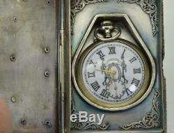 Rare Antique Victorian Memento Mori Skull Lip watch&Masonic Bible book box c1890