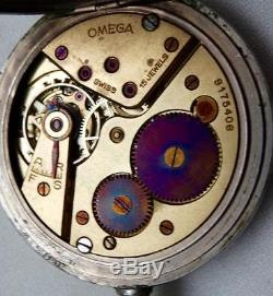 Rare Antique military Regulator black dial Omega pocket watch