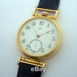 Rare Big ANTIQUE OMEGA Swiss Wristwatch with Porcelain Dial Gilt case