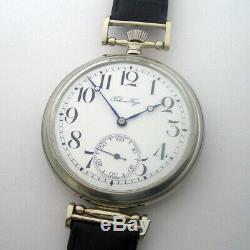 Rare Big ANTIQUE Wristwatch P. BURE with Enamel Dial