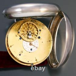 Rare Charles Leroy Silver Verge Fusee Calendar Pocket Watch Ca1780s Day Date A