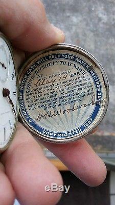 Rare Heavy Early Antique Hampden Hunter Coin Silver Pocket Watch Size 18 KW KS