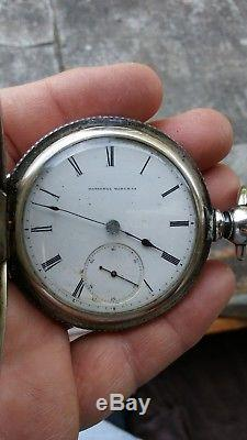 Rare Heavy Early Antique National Hunter Coin Silver Pocket Watch Size 18 KW KS