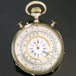 Rare Meyrat & Perdrizet Slide Ruler Pocket Watch Ca1890