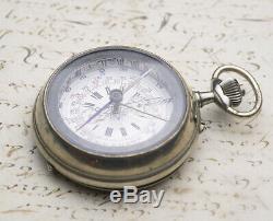 Rare Oversized COMPASS & CHRONOGRAPH Antique Pocket Watch patent Captain Vincent