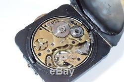 Rare Square Excellent Antique Gun Metal Quarter Repeater Pocket Watch c. 1900