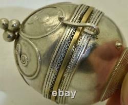 Rare antique French LeRoy silver ball shape Verge Fusee pocket watch&enamel fob