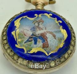 Rare antique Swiss silver, pearls&enamel ladies pendant watch. FOR REPAIR