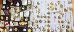Rare antique Victorian 18K GOLD PLATED MEMENTO MORI SKULL pocket watch key fob