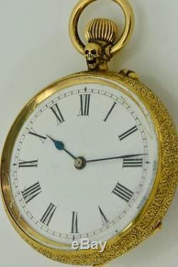 Rare antique Victorian Memento Mori Masonic Skull 18k gold watch by Stauffer&Co