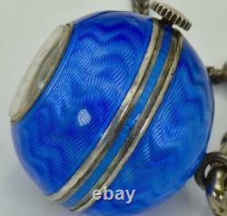 Rare antique silver&enamel ball shape brooch watch in original box