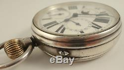 Rare antique silver moon phase Goliath pocket watch with 3 subsidiary dials