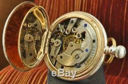 Real 1900' Longines 0.800 Silver Manual Wind Antique 50mm Hunter Pocket Watch
