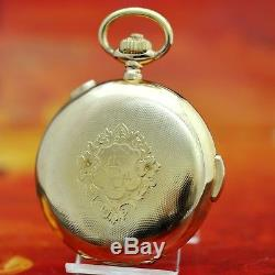 Real Antique Minute Repeater Chronograph In 18k Solid Gold Hunter Pocket Watch