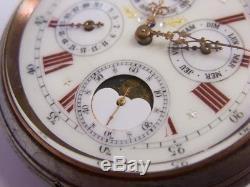 Regulateur triple quantièmes phases de lune Antique day date moonphase watch