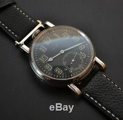 Rolex WW2 vintage men's military watch black pilots dial solid silver Dennison
