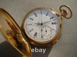 SOLID 18K GOLD FULL HUNTER MINUTE REPEATER CHRONOGRAPH POCKET WATCH Ca1890
