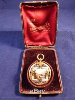STUNNING ANTIQUE 18CT GOLD & ENAMEL LADIES PENDANT OR FOB POCKET WATCH c1860