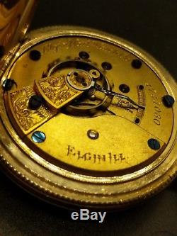 STUNNING Elgin Mens BIG 18s 1891 Antique Gold Filled Pocket Watch! Serviced