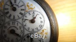 Scarce Antique 19th Judaica Hebrew Alphabet Multi Time Zone Pocket Watch Chinese