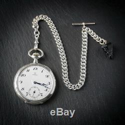Silver Omega 15 jewel Pocket Watch + Silver Albert Chain