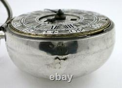 Silver pair cases, verge calendar pocket watch, champleve dial London, c1700