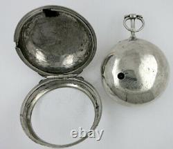 Silver pocket watch, pair cases, verge, champleve dial London, 1748